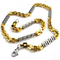 Gold Colored Titanium Steel Men's Necklace Jewelry Accessory