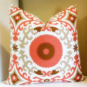 Orange Giinger Suzani Pillow Cover, 20x20 fabric both sides