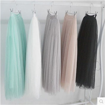 summer cusual new fashion faldas style big swing maxi skirts womens autumn winter jupe high waist tutu long tulle skirt