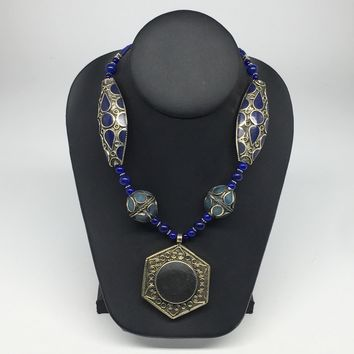 Turkmen Necklace Afghan Kuchi Tribal Black/Blue Fashion Pendant Beaded Necklace