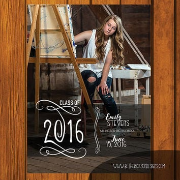 Graduation Announcement / Graduation / College / Announcement / High School / High School Graduation / Full Photo Announcement