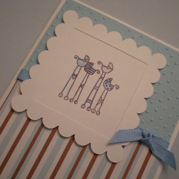New Baby Boy Card/Baby Shower Card-Handmade and handstamped