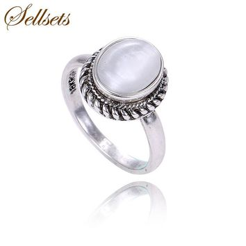 Sellsets Brand High Quality Vintage Jewelry Antique Silver Color White Opal Natural Stone Rings For Women Wedding Party Gift