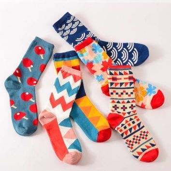 Colorful Cotton Socks New Casual Men's Women's Fashion Dress Cotton Socks W
