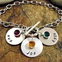 Mommy Bracelet, Name Bracelet, Personalized Jewelry, Hand Stamped Jewelry, Toggle Clasp Stainless Steel Personalized Bracelet, 1 to 3 discs