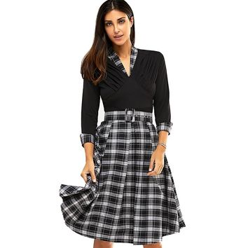 3/4 Sleeve V Neck Plaid Knee Length Dress