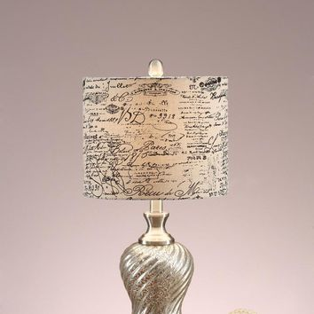 Polyresin Table Lamp With Paper Print Shade White And Gold Set of 2 By Poundex