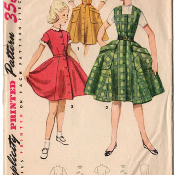 Vintage 1950's Girls Button Front Dress Simplicity Sewing Pattern 4449 Pockets Peter Pan Collar Bust 25