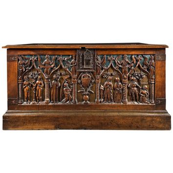 16th Century French and Polychromed Walnut Chest, Louis XII