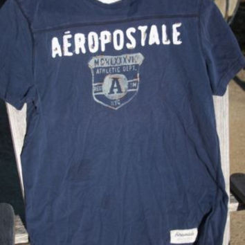 Aeropostale Sewn On Letters Tee T-Shirt ~Mens M~ Blue