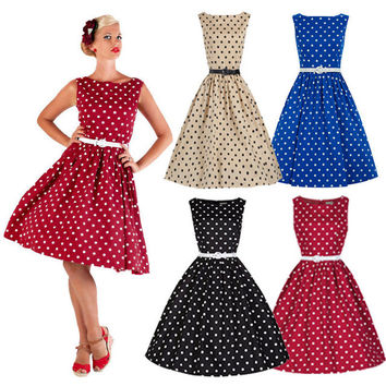 Hot Selling 50'S 60'S ROCKABILLY DRESS Vintage Style Swing Pinup Retro Housewife Party Dress Sleeveless A-Line Dress