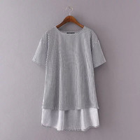Autumn Alphabet Embroidery Round-neck Short Sleeve Pullover Tops [6332330116]