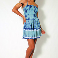(amh) Tie die Fit and flare short dress