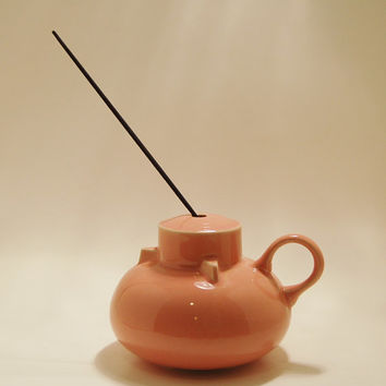 Incense Ceramic Pot  Mid Century Peach Made in Japan Incense Holder