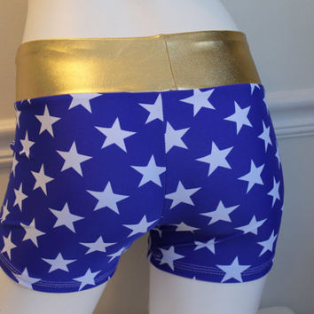 Spandex Shorts Blue with white stars and gold band