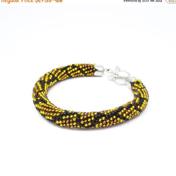 SALE Snake bracelet gold brown bracele snake python print bead crochet rope beaded jewelry python bracelet bracelet for women gift