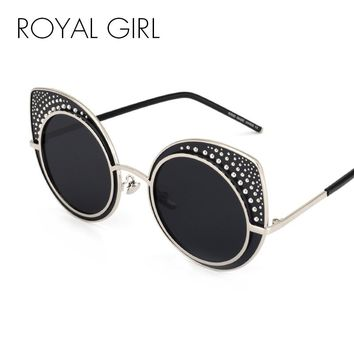 Royal Girl Fashion Cat Eye Sunglasses Women Brand Designer Retro Steampunk Female Sun Glasses oculos de sol feminino UV400 ss142