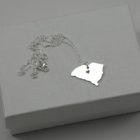 Sterling Silver State Love Heart Necklace - South Carolina