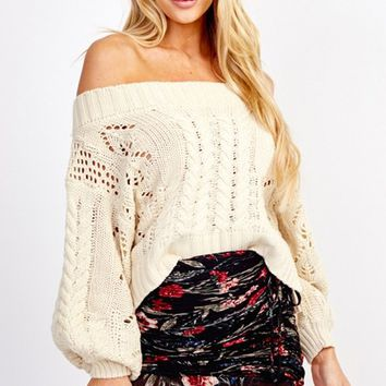All About Town Long Bubble Sleeve Off The Shoulder Cable Knit Pullover Sweater - 2 Colors Available