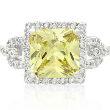 Kara Canary Yellow Princess Cut Halo Cocktail Ring | 7ct | Cubic Zirconia | Silver