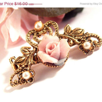 Victorian Rose Collar Pin Porcelain Floral Brooch with Pearl Accents Antique Style Gold Pressed Metal Vintage Victorian Jewelry