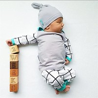 3PCS Set Newborn Kids Baby Boys Girls Outfits Clothes Set T-shirt Tops Casual Long Sleeve + Pants Legging + Hat Baby Clothing