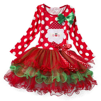 Baby 2017 New Year Winter Baby Girl Dress Santa Snowman Children Clothing Girl Christmas Costume Outfits Kids Ball Party Wear