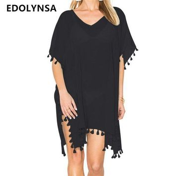 DCCKL6D Beach Dress Sexy Cover-Up Chiffon Bikini Kaftan Pareo Sarongs Swimwear Tunic Swimsuit Bathing Suit Cover Ups Robe De Plage #Q214