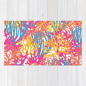 Coral Print area rug 2x3 rug beach Living room 3x5 rug 4x6 area rug coral throw rug floor rug preppy bedroom rug dorm room