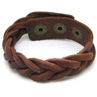 Brown Leather Bracelet Cross Weave Bracelet