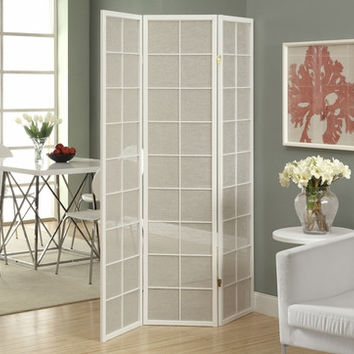 White Framed 3 Panel Folding Screen with Fabric Inlay
