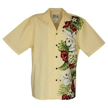 Anthurium Yellow Vertical Border Hawaiian Shirt