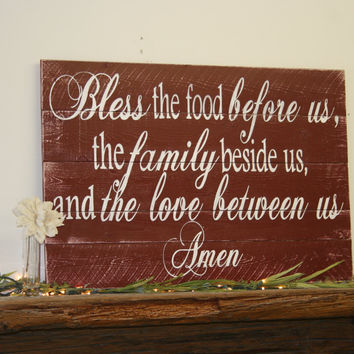 Bless The Food Pallet Sign Kitchen Wallhanging Dining Room Wallhanging Rustic Wood Sign Shabby Chic Decor Vintage Kitchen Primitive Wood