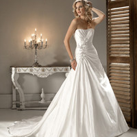 2012 Maggie Sottero Bridal - Diamond White Satin Pleated Embellished Strapless Tori Wedding Gown - 0 - 28 - Unique Vintage - Cocktail, Evening & Pinup Dresses