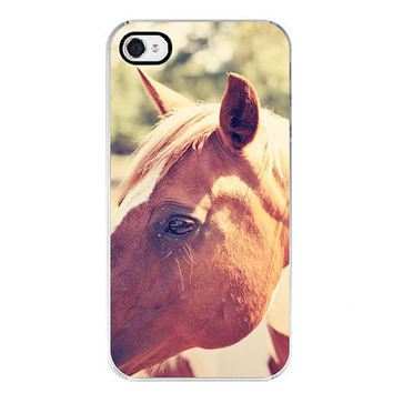 free shipping iphone 4 4s case horse photography brown and white photograph fine art home decor wall art  Pretty Paint CIJ free shipping