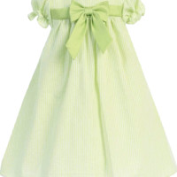 Light Green Striped Cotton Seersucker Spring Dress with Poly Silk Trim (Baby Girls 3 - 24 months )