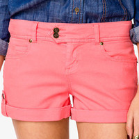 Life In Progress™ Button Tab Colored Denim Shorts