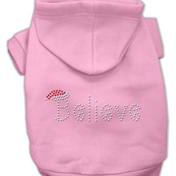 Believe Christmas Hoodie for Dogs Pink/Small