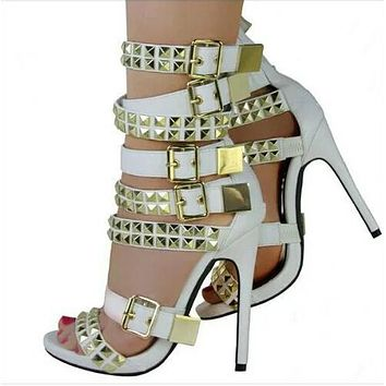 Rivets Straps Open Toe Ankle Wraps Stiletto High Heel Sandals