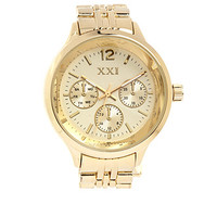 FOREVER 21 Rhinestone Encrusted Chronograph Watch Gold/Clear One