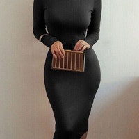 Black High Neck Long Sleeve Bodycon Dress