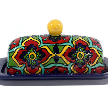 "Cobalt Blue, Teal and Red Talavera Style Butter Dish -- ""Starburst Flower"""