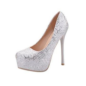 Mila Lady Fay Embroidered Lace Elegance Sky-High Sparkles Platform Lady Heels