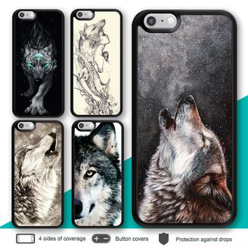 iPhone X 8 7 Plus 6s 6 Case Wolf Animal Bumper Print Cover for Apple SE 5s 5c 4