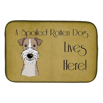Wire Haired Fox Terrier Spoiled Dog Lives Here Dish Drying Mat BB1495DDM