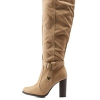 Beige Belted Knee-High Chunky Heel Boots by Charlotte Russe