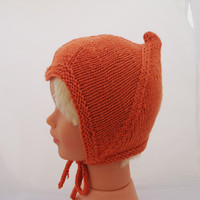 Hand knitted Baby Pixie Bonnet, Orange Pixie Hat, Baby Pixie Hat, Baby Elf Bonnet, Toddler Hat, Baby Hat