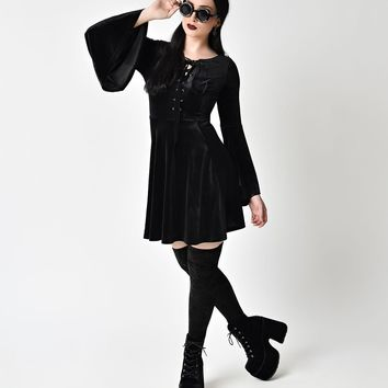 Hell Bunny Black Velvet Willows Mini Dress