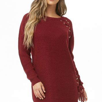Vented Lace-Up Sweater Dress