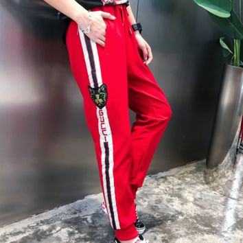GUCCI 2018 spring new fashion sequins cat letters loose harem pants F0630-1 red